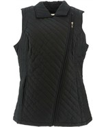 Dennis Basso Water Resistant Quilted Moto Vest Black M NEW A268060 - $56.41