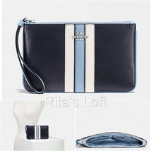 NWT! $150 F59843 COACH LARGE WRISTLET VARSITY STRIPE NAVY CHALK BLUE