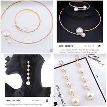 Creative Fashion Wedding Jewelry Imitation Pearl Choker Bracelet Earring Set 3pc - $43.95
