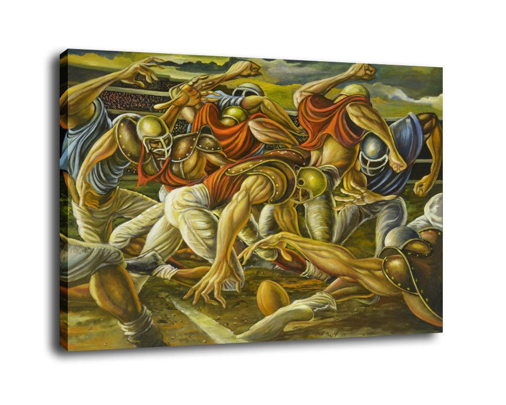 """Cartoon Art Home Decor Oil Painting Print On Canvas """"Football Game""""Framed"""