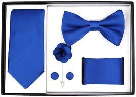 Berlioni Men's Handmade Microfiber Tie Bowtie Lapel Hanky Cufflinks Gift Box Set image 10