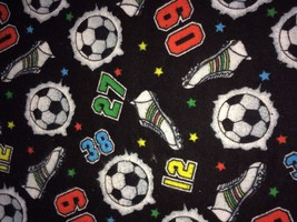 "Soft Flannel Fabric SOCCER Ball & Cleats Black Background 1 3/4 Yd x 40"" W - $11.60"