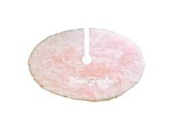 5' Round Light Pink Tree Skirt Christmas Holiday Faux Fur Decor - $104.50