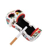 White Colorful Bright Sugar Skull Day Of The Dead Cigarette Ashtray Figu... - $24.74