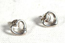 Tiffany & Co Elsa Peretti Open Heart  Stud Earrings Sterling Silver Womens - $148.50