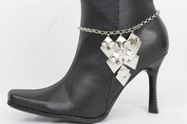 Women Silver Boot Chain Metal Anklet Bracelet Western Shoe Bling Dangle Charms - $17.63
