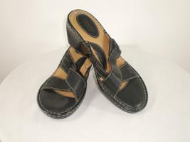 Born leather black brown Sz 10 M Cross Strap Wedge Heels comfortable - $18.50