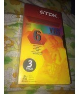 NEW Sealed Pack of 3 TDK  T-120 6 Hour Blank VHS Tapes Superior Quality - $12.78