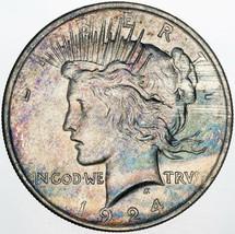 1924-P PEACE SILVER DOLLAR VIBRANT MULTI COLORED GEM CHOICE TONED UNC BU... - $197.99