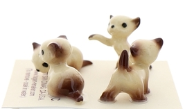 Hagen-Renaker Miniature Cat Figurine Tiny Siamese Kittens Set Chocolate Point image 2