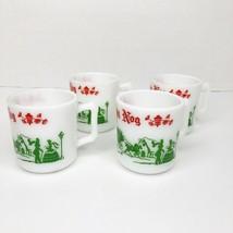 Set of 4 Hazel Atlas Egg Nog Mugs Cups Milk Glass 6 Ounce Victorian Chri... - $39.59