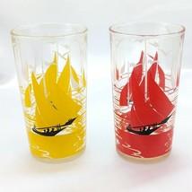 Vintage Sailboat Juice Glasses Red & Yellow 8 oz Sailing Design w/ Birds... - $12.95