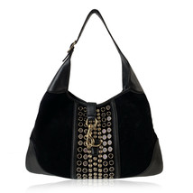 Authentic Gucci Black Suede Studded Jackie O Bouvier Hobo Shoulder Bag - $252.45
