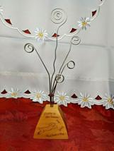 Vintage Desktop Letter/Bill Holder SILVERTONE Wire Coil Happy is the Home .. Dog image 1