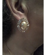 VINTAGE POST CLIP GOLDTONE BUTTON EARRINGS W/ FAUX MABE PEARL PAVE RHINE... - $35.00