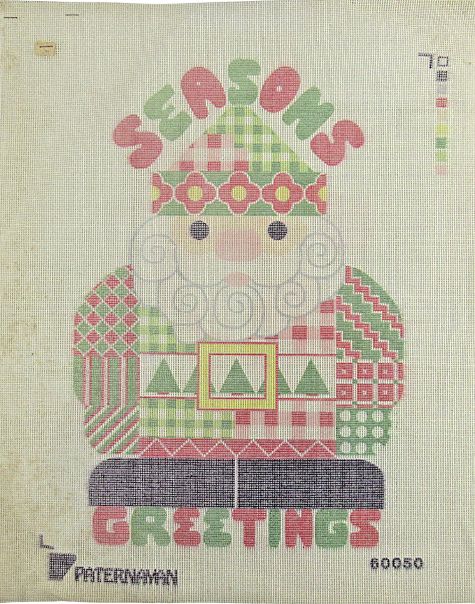 Primary image for 1970's Vintage Hand Painted Needlepoint Seasons Greetings Santa Claus 14C