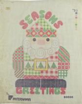 1970's Vintage Hand Painted Needlepoint Seasons Greetings Santa Claus 14C - $34.29