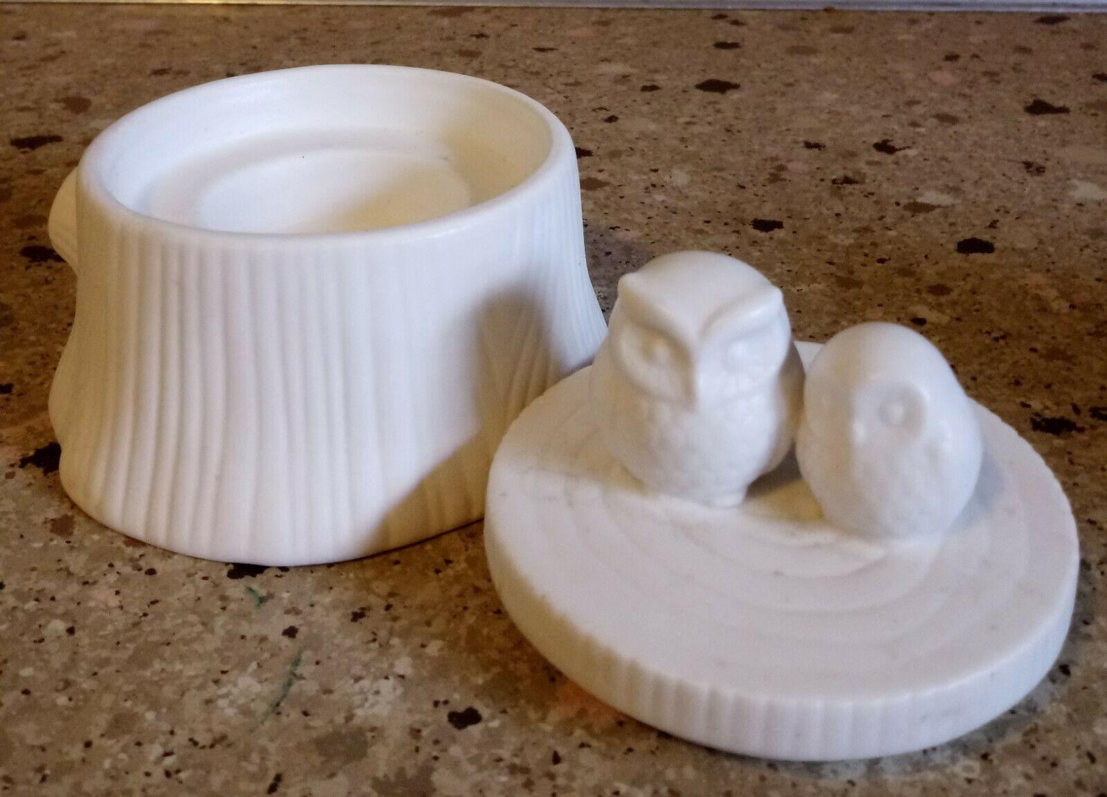 PartyLite Owls Essential Jar Holder White Tea Light Holder