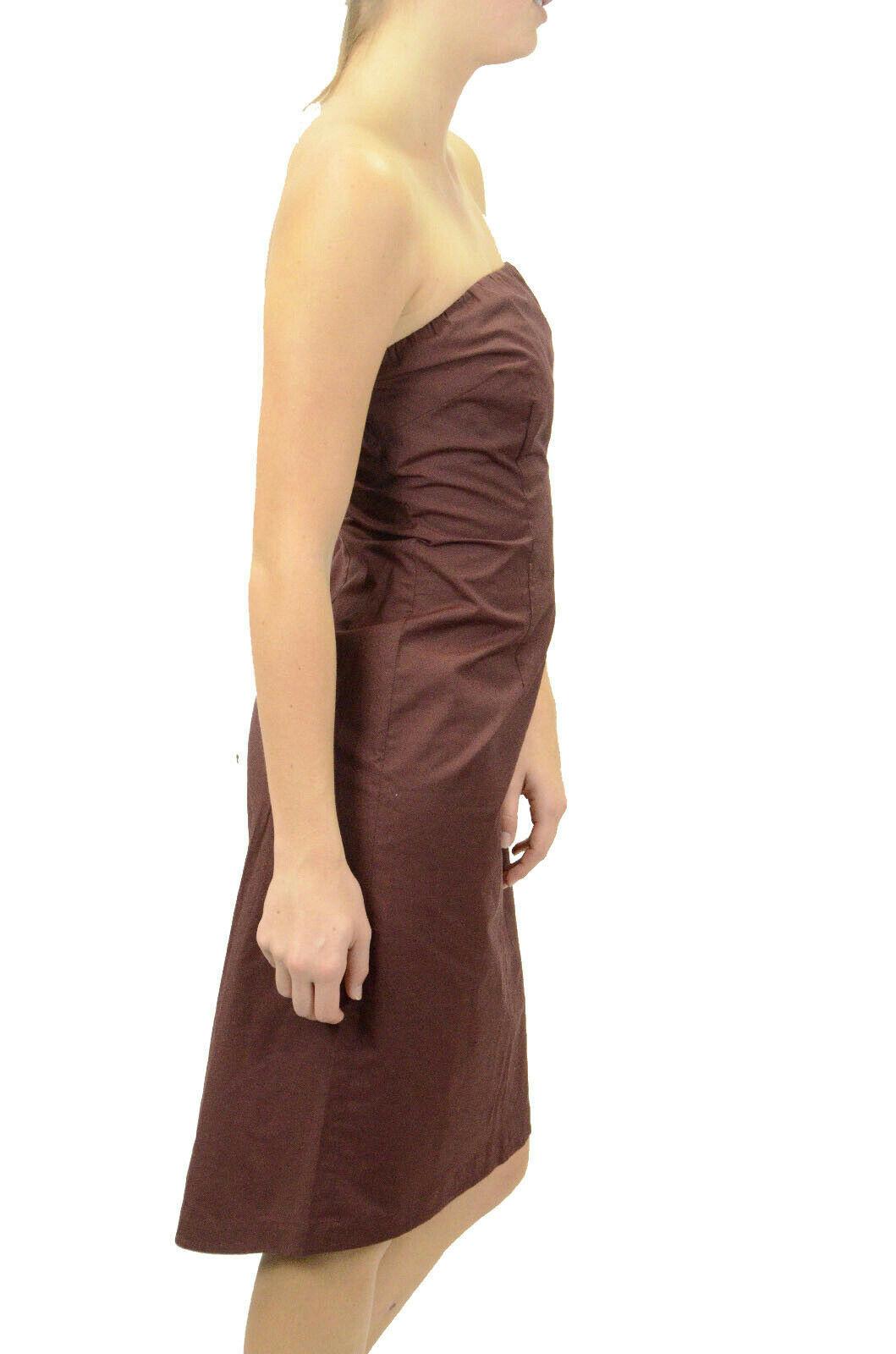 Size 8 J Crew Burgundy/Brown Strapless Sheath Dress Elastic Back Knee Length EUC image 3