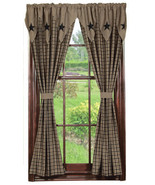 Olivia's Heartland country primitive Vintage Star Black Panel curtains 3... - $89.95