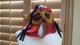 Halloween Mexican Wrestling Luchador Mask - Red Black Gold w/ Mohawk & F... - $18.70