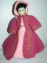 "Vintage Handmade Stich Pink Dress with magenta coat for 14"" doll - $54.45"