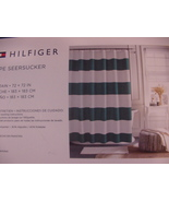 Tommy Hilfiger Cabana Stripe Seersucker Turquoise and White Shower Curtain - $35.00