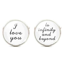 i love you, to infinity and beyond round, silver Cufflinks in gift box cuff link