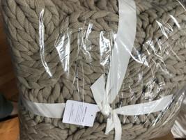 Pottery Barn Colossal Knit Throw Putty 44x56L Handknit Chunky Yarn New - $134.75