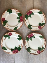 "4 Vintage California Franciscan Hand Painted Apple 8"" Salad Luncheon Plates - $44.54"