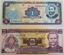 Two Banknotes from Banco Central de Honduras, Banco Central de Nicaragua... - $3.95