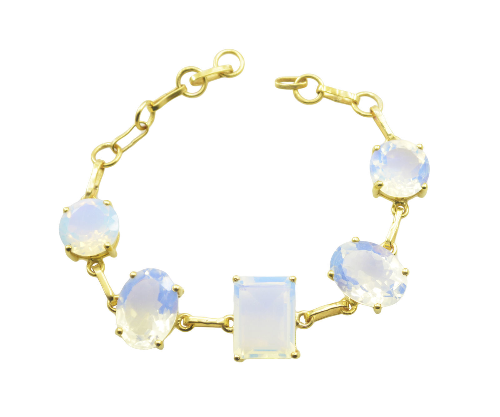 splendiferous Fire Opal CZ Gold Plated White Bracelet Natural general US gift