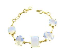 splendiferous Fire Opal CZ Gold Plated White Bracelet Natural general US gift - $29.69