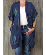 New Soft Surroundings Tropical Toper Navy Blue One Size Womens Parrots B... - $63.36