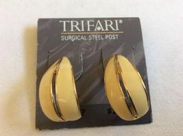 Surgical steel post Signed Trifari Gold tone cream color enamel  Earrings - $11.09