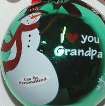 Ganz EX27946 I Love You Grandpa Snowman Christmas Ball Ornament Color Green image 4