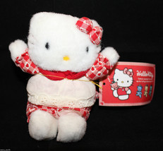 "VTG Sanrio Japan Hello Kitty Plush 11cm 4.25"" Tall Apron Heart Red Origi... - $48.04"