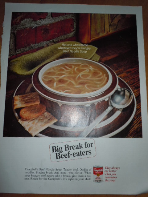 Campbell's Soup Beef Noodle Soup Print Magazine Ad 1967