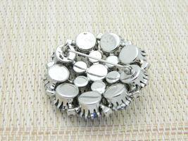 Blue Aurora Borealis Rhinestone Silver Tone Pin Brooch Vintage image 3