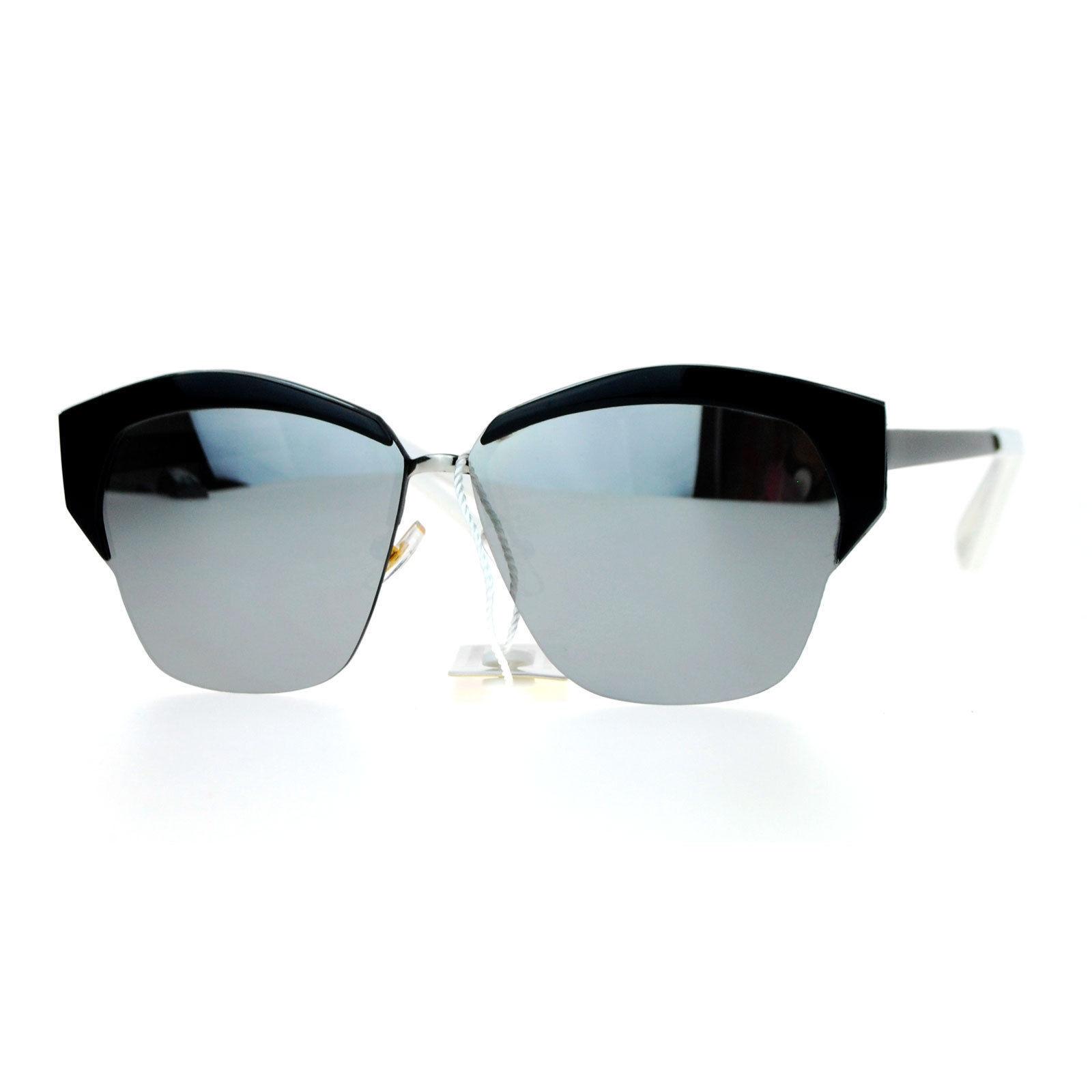 Womens Designer Sunglasses Half Rim Metal Top Trendy Flat Lens Shades