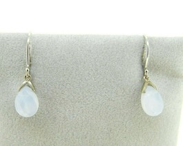 14k White Gold Briolette Genuine Natural Chalcedony Earrings (#J2089) - $150.00