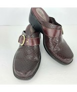 Clarks Artisan 8 M Mules Clogs Shoes Cordovan Woven Leather Buckle Slide... - $39.59