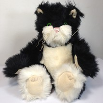 """Mary Meyer Cat Black White Fuzzy Stuffed Animal Kitten Kitty Pink Nose Sits 8""""in - $39.99"""