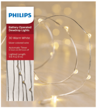 Philips 30ct Christmas Battery Oper. LED String Fairy Dewdrop Lights Warm White
