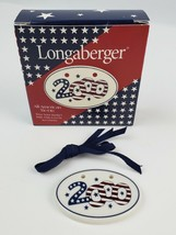 New in box Longaberger Basket Tie-On Year 2000 Porcelain Red White Blue - $11.29