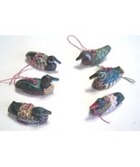 "Wooden Duck Decoy Ornaments Handpainted Glass Eyes 2 1/2"" Vintage Lot of 6 - $29.99"