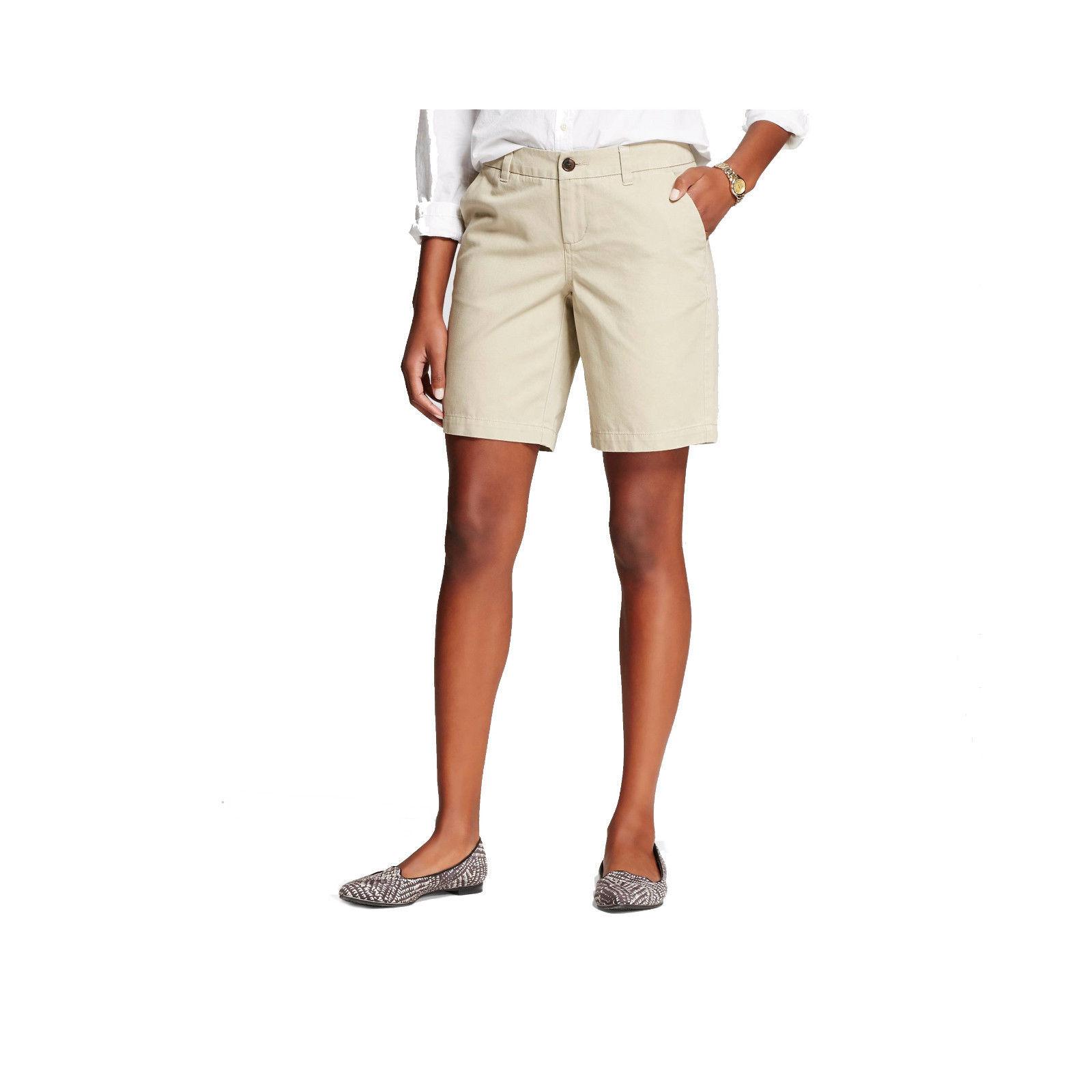 """Merona 9"""" Women's Khaki Chino Shorts Vintage Khaki NWT"""