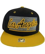 Los Angeles 2-Tone Adjustable Cotton Snapback Baseball Cap (Dark Blue/Gold) - $12.95