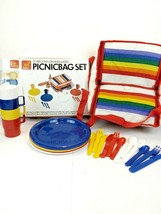 Retro Vintage 1986 Picnic Set for 4, New Open Box. Rainbow Detail. - €47,98 EUR