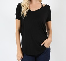 High Low Dolman Sleeve Top, Strappy Relaxed Top, Short Sleeve, Womens, Black